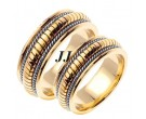 Two Tone Gold Snake Braided Wedding Band Set 8mm TT-654AS