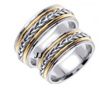 Two Tone Gold Hand Braided Wedding Band Set 8mm TT-655AS