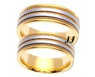 Two Tone Gold Hand Braided Wedding Band Set 7mm TT-761AS