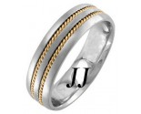 Two Tone Gold Single Blade Wedding Band 6mm TT-957C
