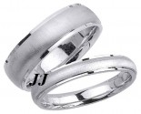 White Gold Sandblasted Wedding Band Set 4mm & 6.5mm WG-1758S