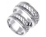 White Gold Hand Braided Wedding Band Set 8mm WG-152S