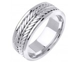 White Gold Hand Braided Wedding Band 7.5mm WG-163