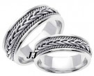 White Gold Hand Braided Wedding Band Set 7mm WG-251S