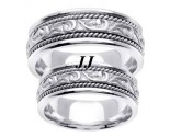 White Gold Paisley Wedding Band Set 7mm WG-256S