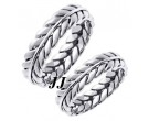White Gold Ivy Leaf Wedding Band Set 5mm WG-262S