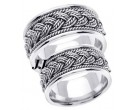 White Gold Hand Braided Wedding Band Set 10mm WG-269S