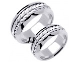 White Gold Hand Braided Wedding Band Set 8mm WG-271S
