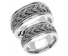 White Gold Sailor Braid Wedding Band Set 8mm WG-556S