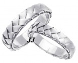 White Gold Hand Braided Wedding Band Set 5mm WG-662S