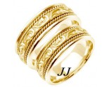 Yellow Gold Paisley Wedding Band Set 7mm YG-256S