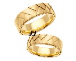 Yellow Gold Hand Braided Wedding Band Set 7mm YG-554S