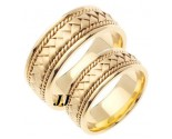 Yellow Gold Hand Braided Wedding Band Set 8mm YG-151S