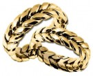 Yellow Gold Hand Braided Wedding Band Set 7mm YG-200S