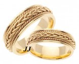 Yellow Gold Hand Braided Wedding Band Set 7mm YG-252S