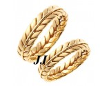Yellow Gold Ivy Leaf Wedding Band Set 5mm YG-262S