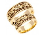 Yellow Gold Paisley Wedding Band Set 8mm & 9mm YG-265S