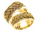 Yellow Gold Hand Braided Wedding Band Set 10mm & 8mm YG-269S