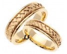 Yellow Gold Hand Braided Wedding Band Set 7mm YG-358S