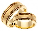 Yellow Gold Hand Braided Wedding Band Set 8mm YG-359S