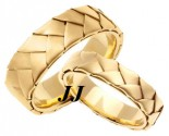 Yellow Gold Hand Braided Wedding Band Set 5mm & 7mm YG-554BS