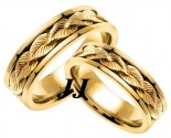 Yellow Gold Leaf Wedding Band Set 7mm YG-653S