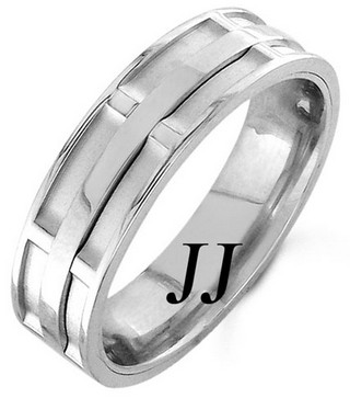White Gold Dual Space Wedding Band 7mm WG-1051