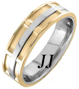 Two Tone Gold Dual Space Wedding Band 7mm TT-1064