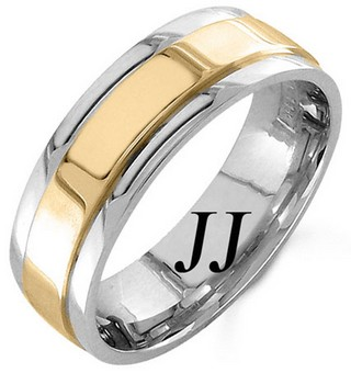 Two Tone Gold Polished Wedding Band 7mm TT-1066