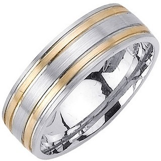 Two Tone Gold Dual Blade Wedding Band 7mm TT-1151