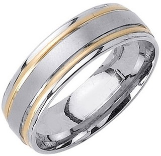 Two Tone Gold Dual Blade Wedding Band 7mm TT-1152