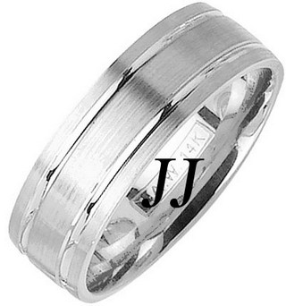 White Gold Dual Blade Wedding Band 7mm WG-1155