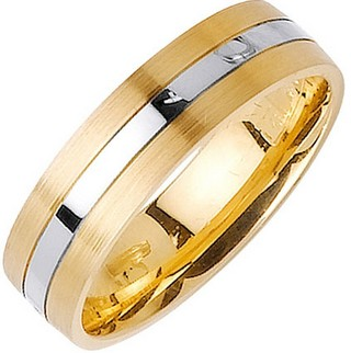 Two Tone Gold Single Blade Wedding Band 6mm TT-1158