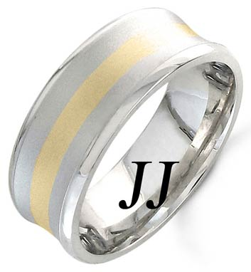 Two Tone Gold Concave Wedding Band 8mm TT-1159