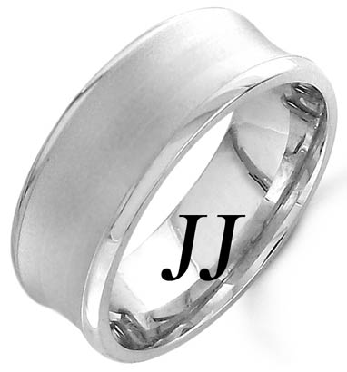 White Gold Concave Wedding Band 8mm WG-1159