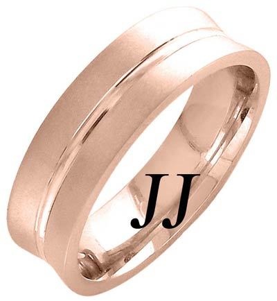 Rose Gold Concave Blade Wedding Band 6mm RG-1162
