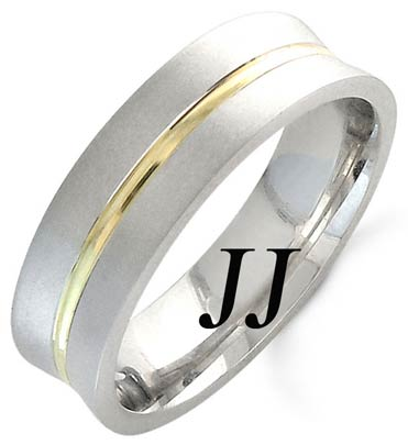 Two Tone Gold Concave Blade Wedding Band 6mm TT-1162