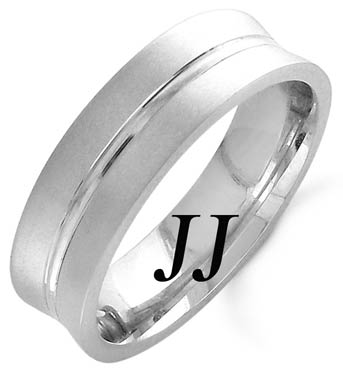 White Gold Concave Blade Wedding Band 6mm WG-1162