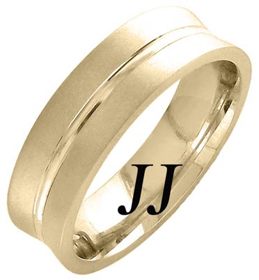 Yellow Gold Concave Blade Wedding Band 6mm YG-1162
