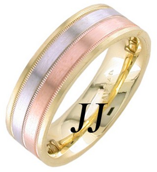 Tri Color Gold Dual Blade Wedding Band 7.5mm TC-1252