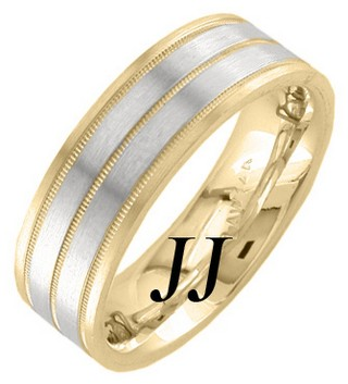 Two Tone Gold Dual Blade Wedding Band 7.5mm TT-1252