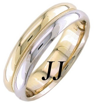 Two Tone Gold Two Face Wedding Band 5.5mm TT-1255