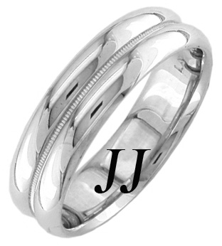White Gold Two Face Wedding Band 5.5mm WG-1255