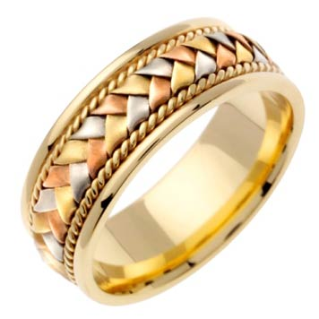 Tri Color Gold Hand Braid Wedding Band 8mm TC-153