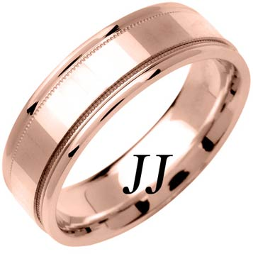 Rose Gold Mirror Effect Wedding Band 6.5mm RG-1355