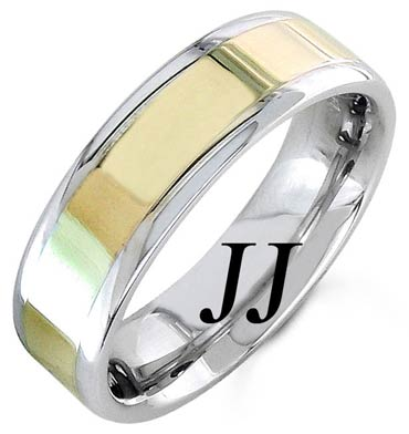 Two Tone Gold Polished Wedding Band 6.5mm TT-1356