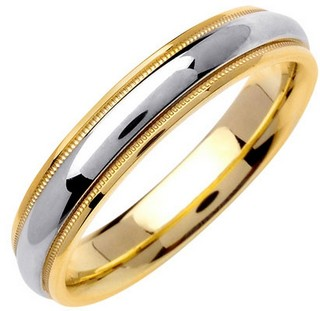 Two Tone Gold Polished Wedding Band 4.5mm TT-1357