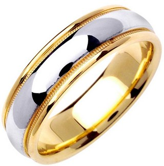 Two Tone Gold Polished Wedding Band 6.5mm TT-1358