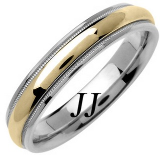 Two Tone Gold Polished Wedding Band 4.5mm TT-1366