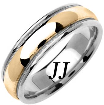 Two Tone Gold Polished Wedding Band 6.5mm TT-1369